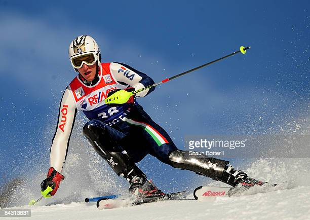 Siegmar Klotz of Italy in action during the FIS Ski World Cup Men's Super Comined Slalom on January 16 2009 in Wengen Switzerland