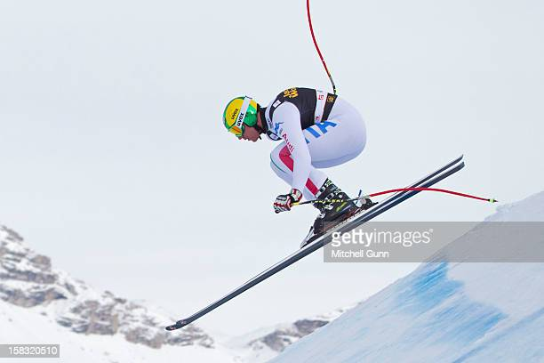 Siegmar Klotz of Italy in action on the Saslong course whilst taking part in the second official training session for the Audi FIS Alpine Ski World...