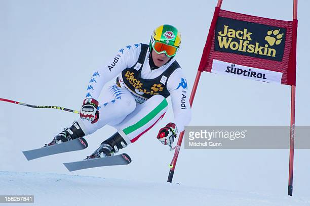 Siegmar Klotz of italy speeds down the Saslong course during the first official training session for the Audi FIS Alpine Ski World Cup Downhill race...