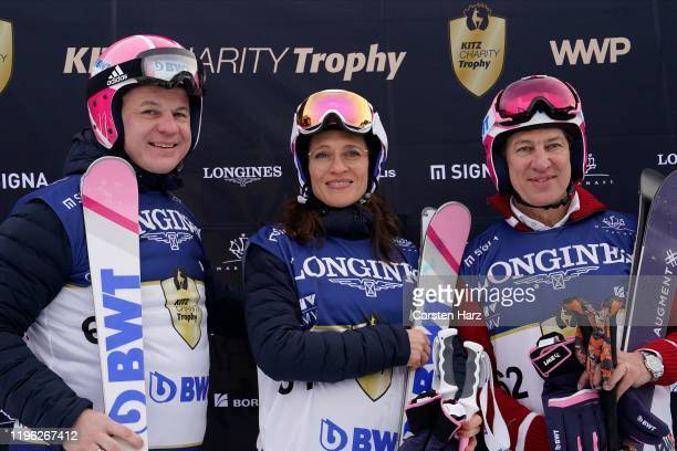 Siegmund Gruber Julia Moretti and Tobias Moretti of Team BWT during the Audi FIS alpine ski world cup Kitz Charity Trophy on January 25 2020 in...