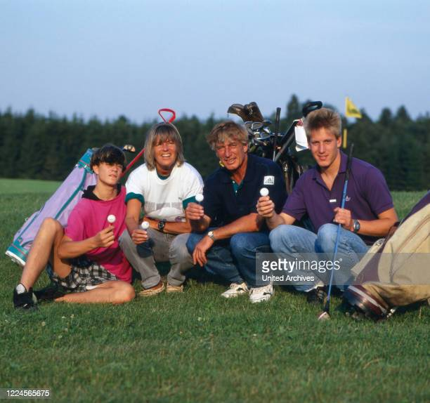 Siegried Rauch together with his family on the golfcourt, Germany, 1980.