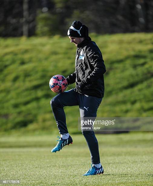 Siem de Jong controls the ball during a training session at The Newcastle United Training Centre on January 08 in Newcastle upon Tyne England