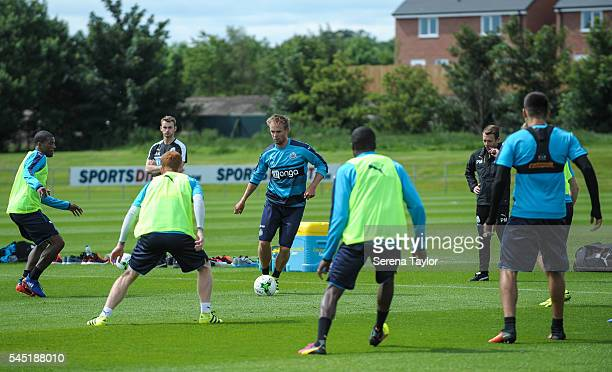 Siem de Jong controls the ball during the Newcastle United Training session at The Newcastle United Training Centre on July 6 in Newcastle upon Tyne...