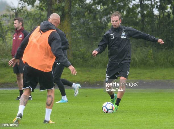 Siem de Jong looks to pass the ball during the Newcastle United Training session at the Newcastle United Training Centre on July 5 in Newcastle upon...