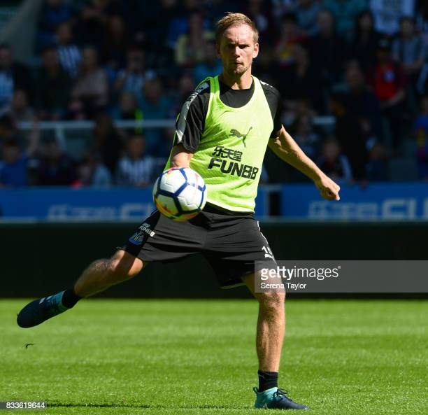 Siem de Jong looks to strike the ball during a Newcastle United Open Training session at StJames' Park on August 17 in Newcastle upon Tyne England