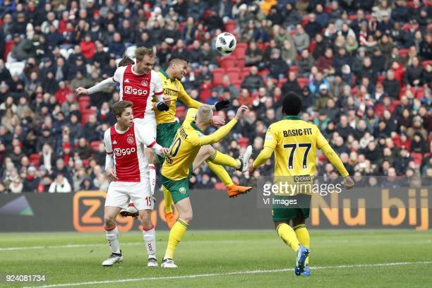 Siem de Jong of Ajax Carel Eiting of Ajax Tyronne Ebuehi of ADO Den Haag Lex Immers of ADO Den Haag Elson Hooi of ADO Den Haag during the Dutch...