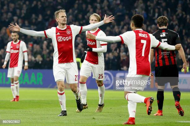 Siem de Jong of Ajax celebrates 1-0 during the Dutch Eredivisie match between Ajax v Excelsior at the Johan Cruijff Arena on December 14, 2017 in...