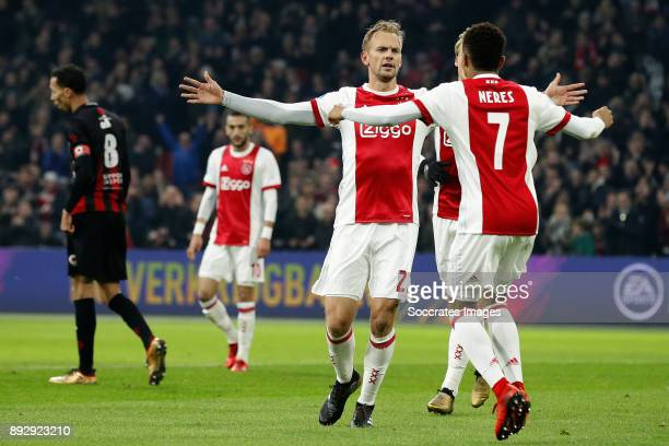 Siem de Jong of Ajax celebrates 10 with David Neres of Ajax during the Dutch Eredivisie match between Ajax v Excelsior at the Johan Cruijff Arena on...