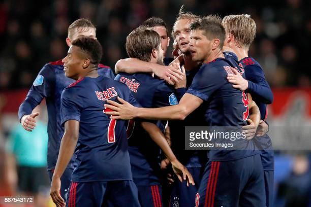 Siem de Jong of Ajax celebrates 12 with Matthijs de Ligt of Ajax David Neres of Ajax Lasse Schone of Ajax Nick Viergever of Ajax Klaas Jan Huntelaar...