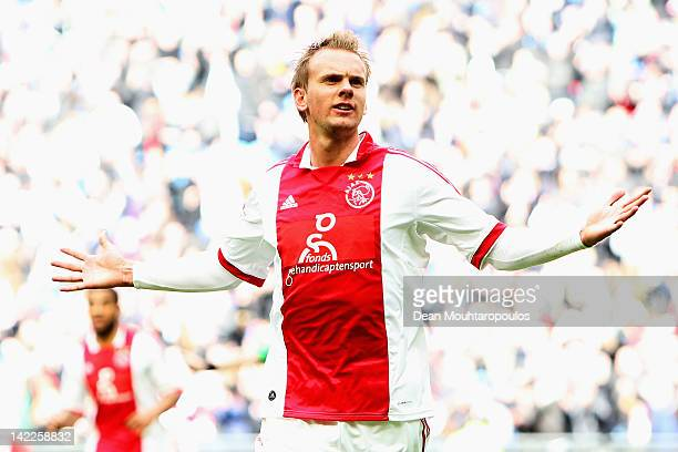 Siem de Jong of Ajax celebrates after he scores the fifth goal of the game during the Eredivisie match between Ajax Amsterdam and SC Heracles Almelo...