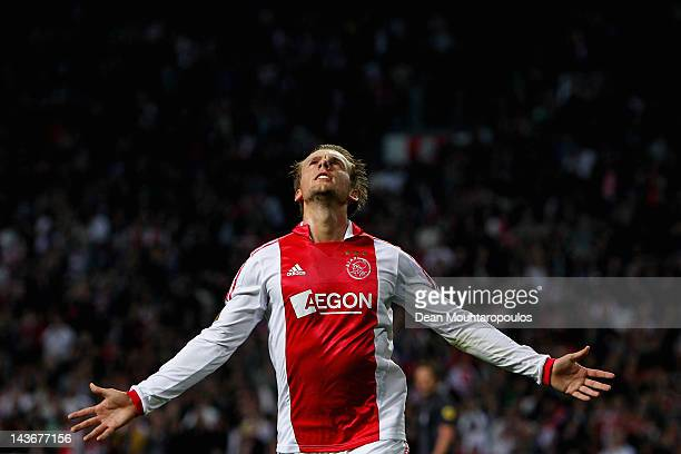 Siem de Jong of Ajax celebrates after he scores the second goal of the game during the Eredivisie match between Ajax Amsterdam and VVV Venlo at...