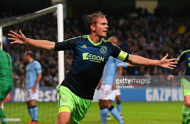 Siem de Jong of Ajax celebrates scoring his team's second goal during the UEFA Champions League Group D match between Manchester City FC and Ajax...