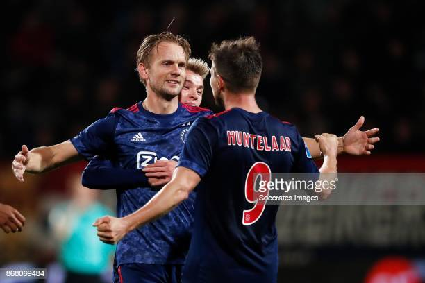 Siem de Jong of Ajax Daley Sinkgraven of Ajax Klaas Jan Huntelaar of Ajax during the Dutch Eredivisie match between Willem II v Ajax at the Koning...
