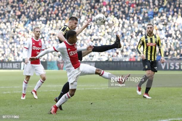Siem de Jong of Ajax David Neres of Ajax Matt Miazga of Vitesse Guram Kashia of Vitesse during the Dutch Eredivisie match between Vitesse Arnhem and...