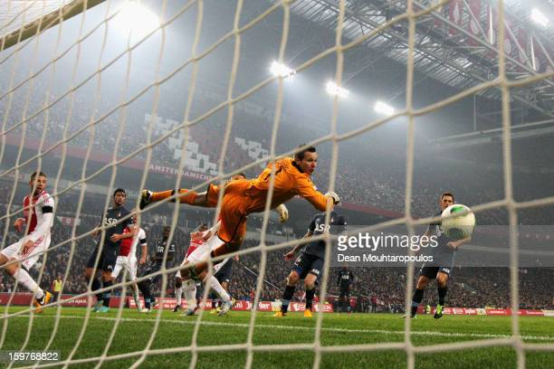 Siem De Jong of Ajax gets a touch on the ball to put the ball past goalkeeper, Erwin Mulder of Feyenoord during the Eredivisie match between Ajax...