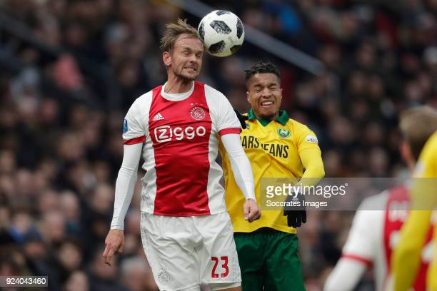 Siem de Jong of Ajax Tyronne Ebuehi of ADO Den Haag during the Dutch Eredivisie match between Ajax v ADO Den Haag at the Johan Cruijff Arena on...