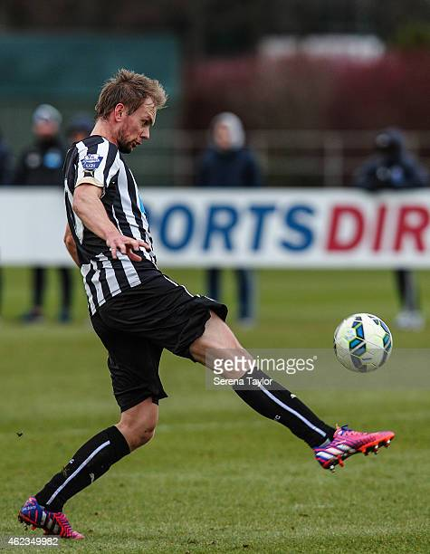 Siem de Jong of Newcastle controls the ball during a friendly match between Newcastle United and Carlisle United at The Newcastle United Training...