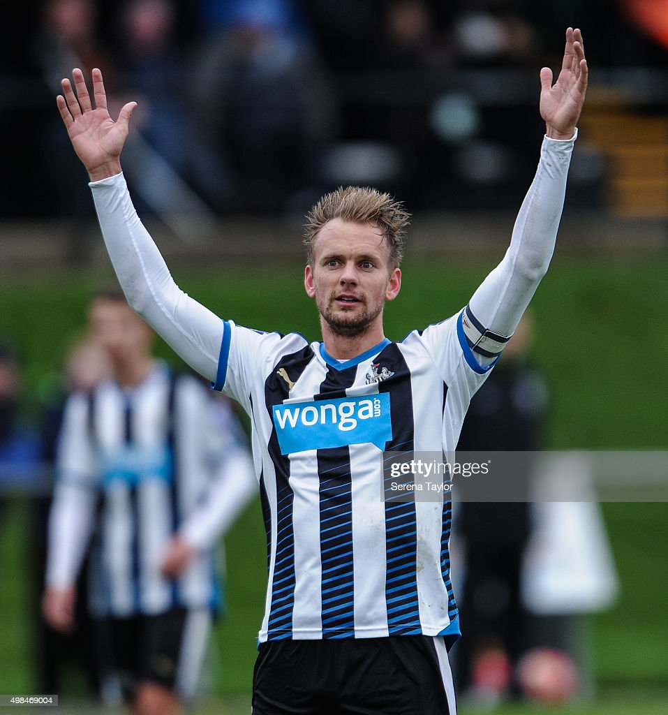 Siem de Jong of Newcastle holds his hands in the air during the U21 Premier League Match between Newcastle United and West Bromwich Albion at Whitley Park on November 23, 2015, in Newcastle upon Tyne, England.