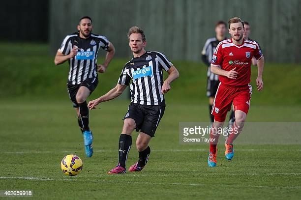 Siem de Jong of Newcastle passes the ball during the Barclays U21 Premier League match between Newcastle and West Bromwich Albion at The Newcastle...