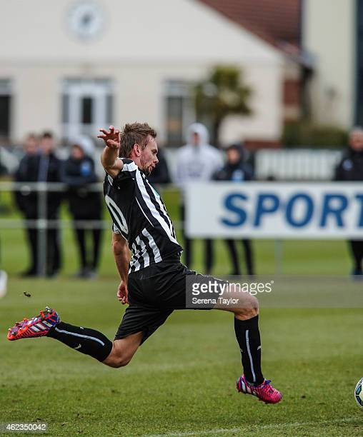 Siem de Jong of Newcastle strikes the ball during a friendly match between Newcastle United and Carlisle United at The Newcastle United Training...