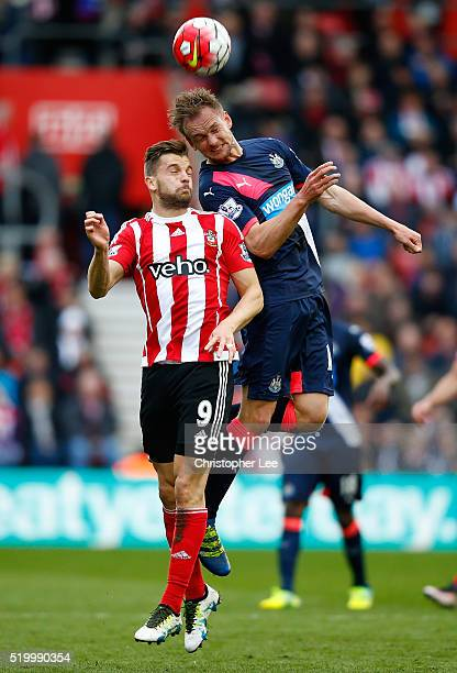 Siem de Jong of Newcastle United and Jay Rodriguez of Southampton compete for the ball during the Barclays Premier League match between Southampton...