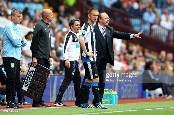 Siem de Jong of Newcastle United is brought in during the Barclays Premier League match between Aston Villa and Newcastle United at Villa Park on May...