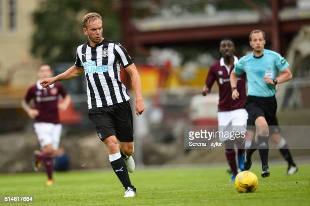 Siem de Jong of Newcastle United passes the ball during the PreSeason Friendly between Heart of Midlothian and Newcastle United at the Tynecastle...