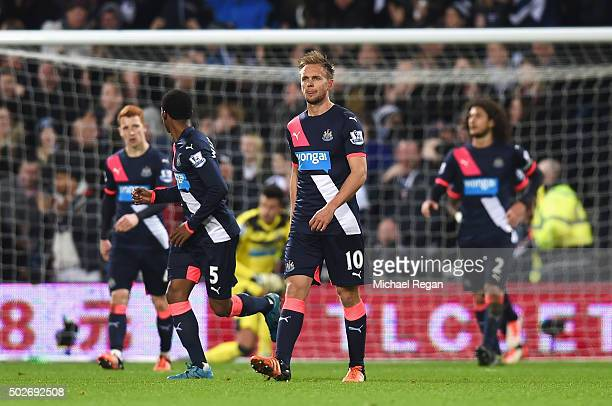 Siem de Jong of Newcastle United reacts after the first goal of the West Bromwich Albion during the Barclays Premier League match between West...