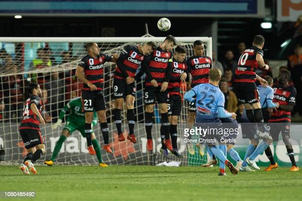 Siem De Jong of Sydney FC celebrates scoring with a free kick during the FFA Cup Semi Final match between the Western Sydney Wanderers and Sydney FC...