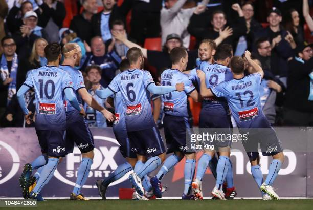 Siem De Jong of Sydney FC celebrates with team mates after scoring a goal during the FFA Cup Semi Final match between the Western Sydney Wanderers...