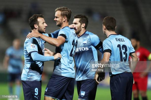 Siem De Jong of Sydney FC celebrates with team mates after scoring a goal during the AFC Asian Champions League match between Sydney FC and Shanghai...