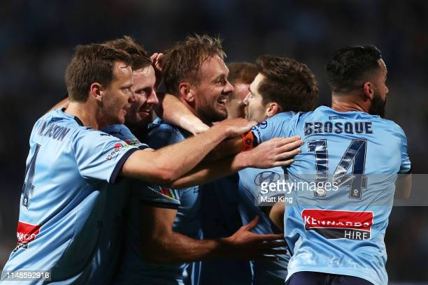 Siem De Jong of Sydney FC celebrates with team mates after scoring a goal during the A-League Semi Final match between Sydney FC and the Melbourne...