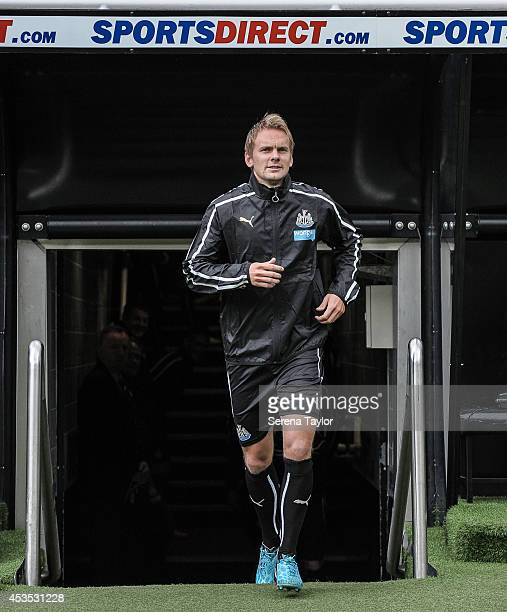 Siem de Jong runs out of the tunnel prior to a Newcastle United Training Session at StJames' Park on August 12 in Newcastle upon Tyne England