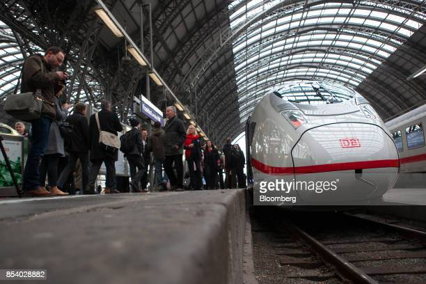 Siemens AG 407 series InterCity Express 3 VelaroD train operated by Deutsche Bahn AG sits on a platform at the central railway station in Frankfurt...
