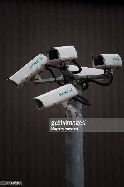 Siemens CCTV security cameras seen on April 3 2015 in Cardiff United Kingdom