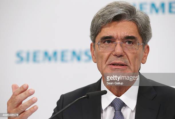 Siemens CEO Joe Kaeser speaks at the Siemens annual press conference on November 6 2014 in Berlin Germany Siemens announced that it had fulfilled its...