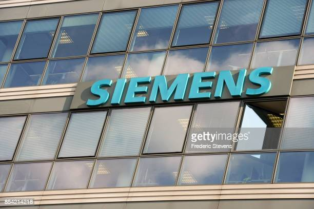 Siemens logo is seen on Siemens offices on September 26 2017 in Chatillon near Paris France Siemens AG and Alstom SA are nearing an agreement to...
