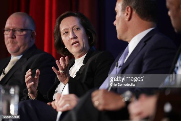 Siemens USA President and CEO Judith Marks participates in a panel discussion with North America's Building Trades Unions President Sean McGarvey...