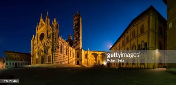Siena Cathedral, Cattedrale di Santa Maria Assunta, night scene, Siena, Tuscany, Italy
