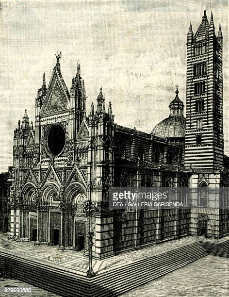 Siena Cathedral Tuscany Italy woodcut from Le cento citta d'Italia illustrated monthly supplement of Il Secolo Milan 1888