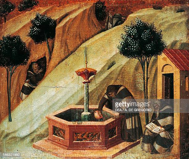 Siena, Pinacoteca Nazionale , Buonsignori Palace A Carmelite draws water from the spring of the prophet Elijah, detail from the dais of the Carmine...