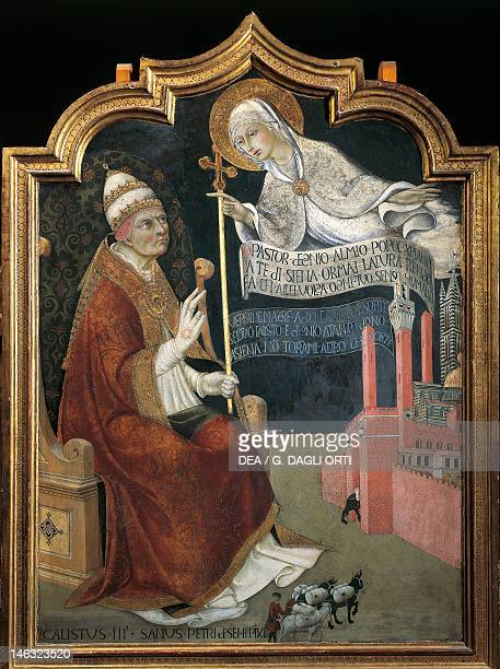 Siena Pinacoteca Nazionale Buonsignori Palace The Virgin recommending Siena to Pope Calixtus III by Sano di Pietro