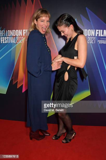 """Sienna Guillory and Jessica Alexander attend the UK Premiere of """"A Banquet"""" during the 65th BFI London Film Festival at the Curzon Soho on October..."""