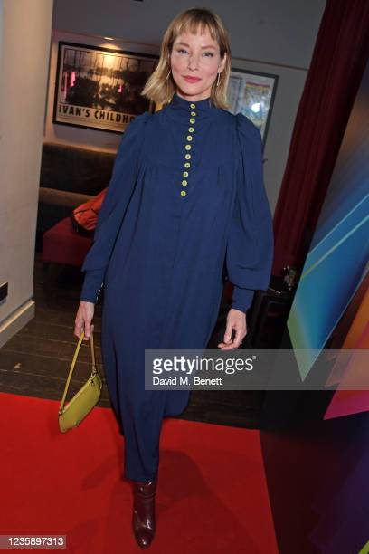 """Sienna Guillory attends the UK Premiere of """"A Banquet"""" during the 65th BFI London Film Festival at the Curzon Soho on October 15, 2021 in London,..."""