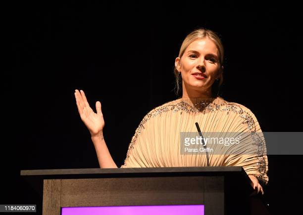 Sienna Miller accepts her Outstanding Achievement in Cinema Award during 22nd SCAD Savannah Film Festival at Trustees Theater on October 28, 2019 in...