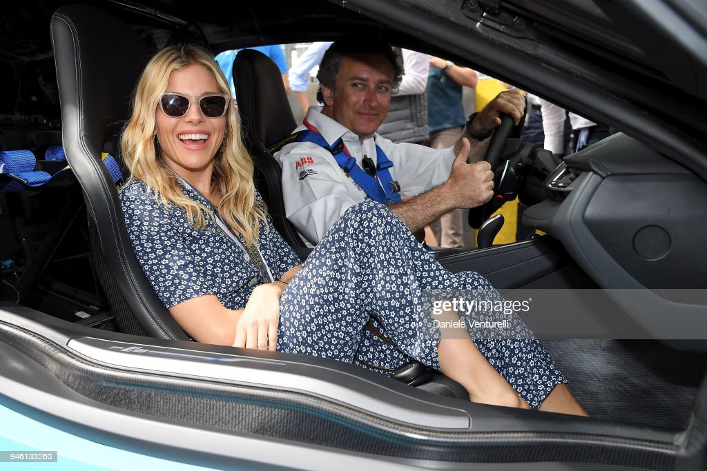 Sienna Miller and Alejandro Agag attend Rome E-Prix on April 14, 2018 in Rome, Italy.