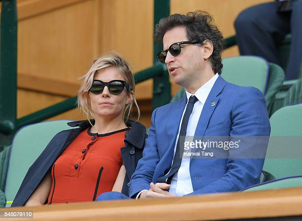 Sienna Miller and Bennett Miller attend day eight of the Wimbledon Tennis Championships at Wimbledon on July 05 2016 in London England