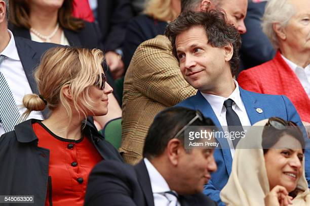 Sienna Miller and Bennett Miller look on from The Royal Box on day eight of the Wimbledon Lawn Tennis Championships at the All England Lawn Tennis...