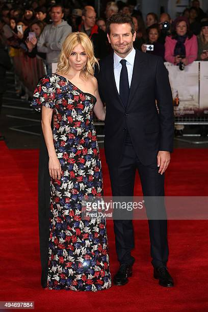 Sienna Miller and Bradley Cooper attend the European Premiere of 'Burnt' at Vue West End on October 28 2015 in London England