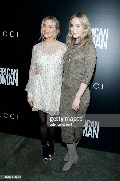 Sienna Miller and Emily Blunt attend the screening of American Woman at Metrograph on December 12 2019 in New York City